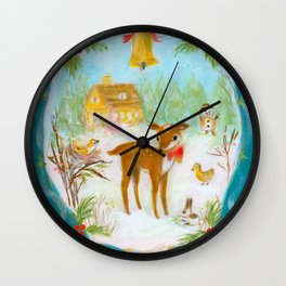 Fawn town Holidays Wall Clock