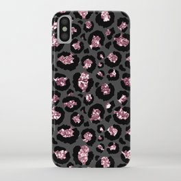 Black & Rose Gold Leopard Print Glitter iPhone Case
