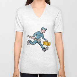 Mechanic Carrying Toolbox Spanner Isolated Cartoon Unisex V-Neck