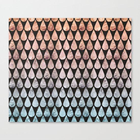 Iridescent raindrops rainbow black gradient Canvas Print
