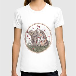Tiger, Baby Elephant, and Mouse Playing in Poppies T-shirt