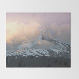 Pink Fog Mountain Morning Throw Blanket