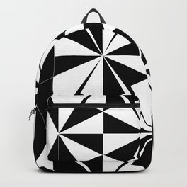 Black White Triangle Pattern Backpack