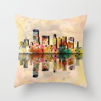 hotline miami Throw Pillows featuring miami  by mark ashkenazi