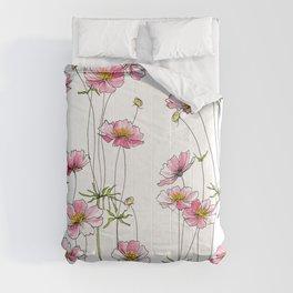 Pink Cosmos Flowers Comforters