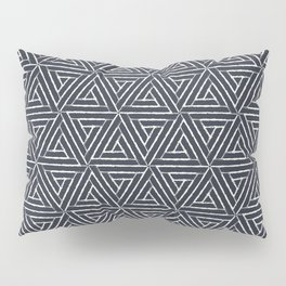Cream & Dark Blue Aztec Tribal Triangle Pattern Pairs To 2020 Color of the Year Classic Navy Blue Pillow Sham