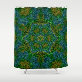 Yellow Green and Blue Kaleidoscope Shower Curtain