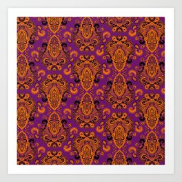 Golden Paisley Purple Art Print