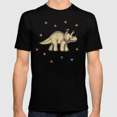 Triceratops & Triangles Black MEDIUM Mens Fitted Tee