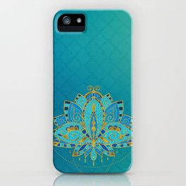 Blue Teal Lotus with Golden Accents iPhone Case