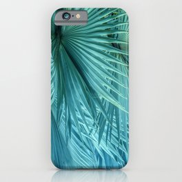 Tropical Jungle Palm Leaves in Green iPhone Case