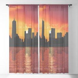 skyline new york city sunset dusk Sheer Curtain