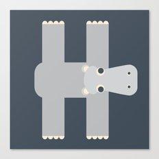 Letter H // Animal Alphabet // Hippo Canvas Print