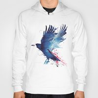 crow Hoodies featuring Bloody Crow by Robert Farkas