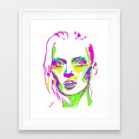 kate moss Framed Art Prints featuring Kate Moss by Simon Falk