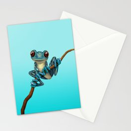 Cute Blue Tree Frog on a Branch Stationery Cards