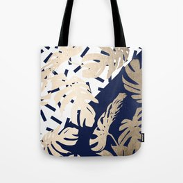 Simply Tropical Nautical Navy Memphis Palm Leaves Tote Bag