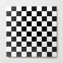 Checker Cross Squares Black & White Metal Print