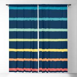 Blue Festival Rainbow Stripe Blackout Curtain