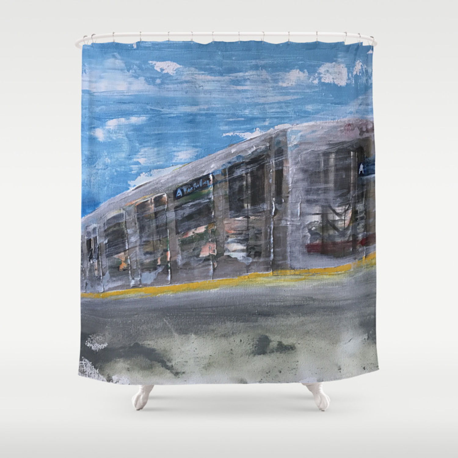 moving a train on nyc mta platform shower curtain