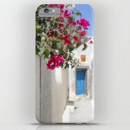 Blue Door with Pink Flowers Santorini Greece iPhone Case