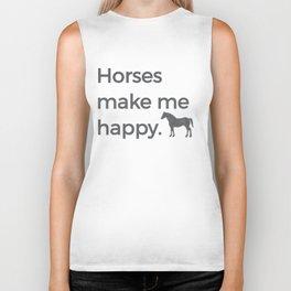 Horses Make Me Happy Riding Horsemanship Riding Horse Black Biker Tank