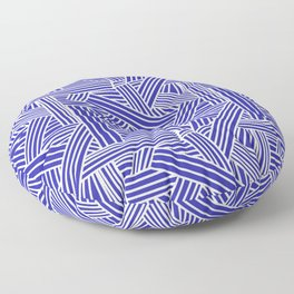 Sketchy Abstract (White & Navy Blue Pattern) Floor Pillow