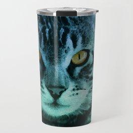 Green Cat Watercolor Travel Mug