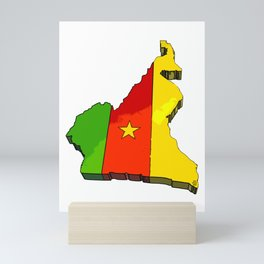 Cameroon Map with Cameroonian Flag Mini Art Print