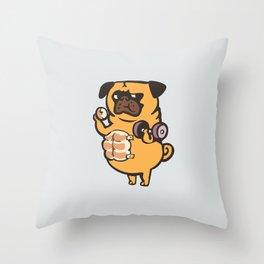 Bread Roll Pug Abs Throw Pillow