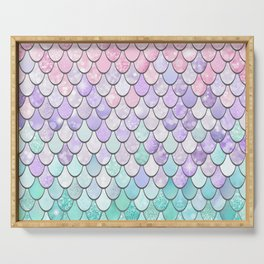 Cute Pretty Fun Girly Pattern, Ombre Pastel Pink, Purple, Teal Serving Tray