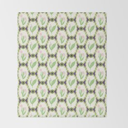 Spring Flowers Tulips and Lily of the Valley Illustrated Pattern Print Throw Blanket