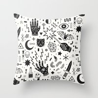 witchcraft Throw Pillows featuring Witchcraft II by LordofMasks