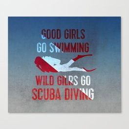 Wild girls go scuba diving Canvas Print