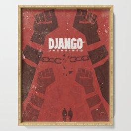 Django Unchained, Quentin Tarantino, minimalist movie poster, Leonardo DiCaprio, spaghetti western Serving Tray
