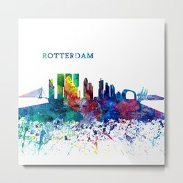 Rotterdam Holland Skyline Silhouette Impressionistic Splash Metal Print