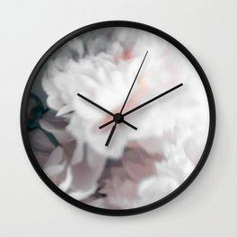 White peonies 10 Wall Clock
