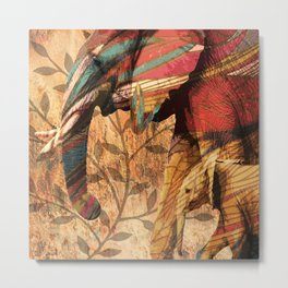 African Patterned Elephants Metal Print