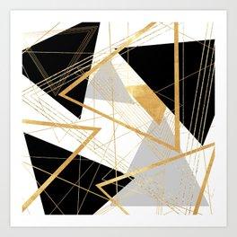 Black and Gold Geometric Art Print