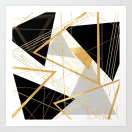 Black and Gold Geometric Kunstdrucke