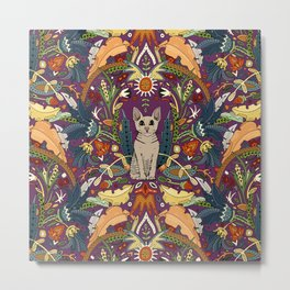 Peterbald cat damask purple Metal Print