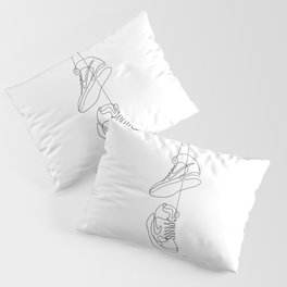Sneakers simple minimal one line art, hanging shoes branded shoes  Pillow Sham
