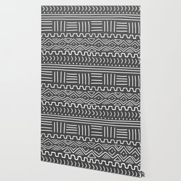 Mud Cloth on Gray Wallpaper