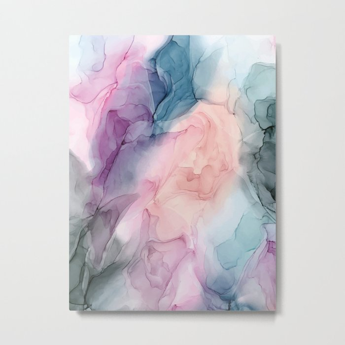 Dark and Pastel Ethereal- Original Fluid Art Painting Metal Print