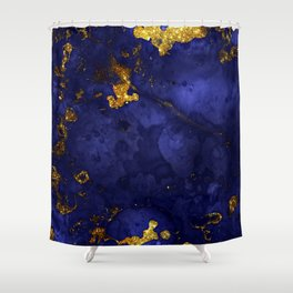 Gold Blue Indigo Malachite Marble Shower Curtain