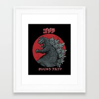 kaiju Framed Art Prints featuring Gojira Kaiju Alpha by Pigboom Art