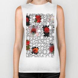 poppy love in puzzle design Biker Tank