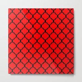 Moroccan Trellis (Black & Red Pattern) Metal Print