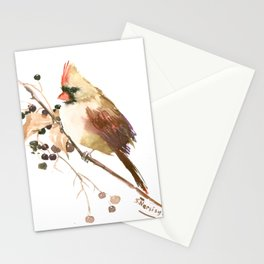 Cardinal Bird and Fall Berries Stationery Cards