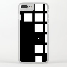 Black and white minimal squares Clear iPhone Case
